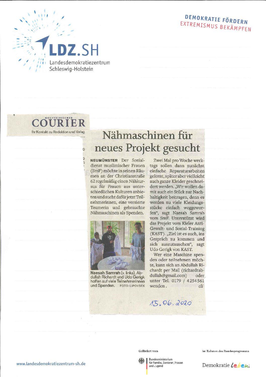 Zeitungsartikel: PORT unterstützt den Sozialdienst muslimischer Frauen für ein interkulturelles Nähprojekt